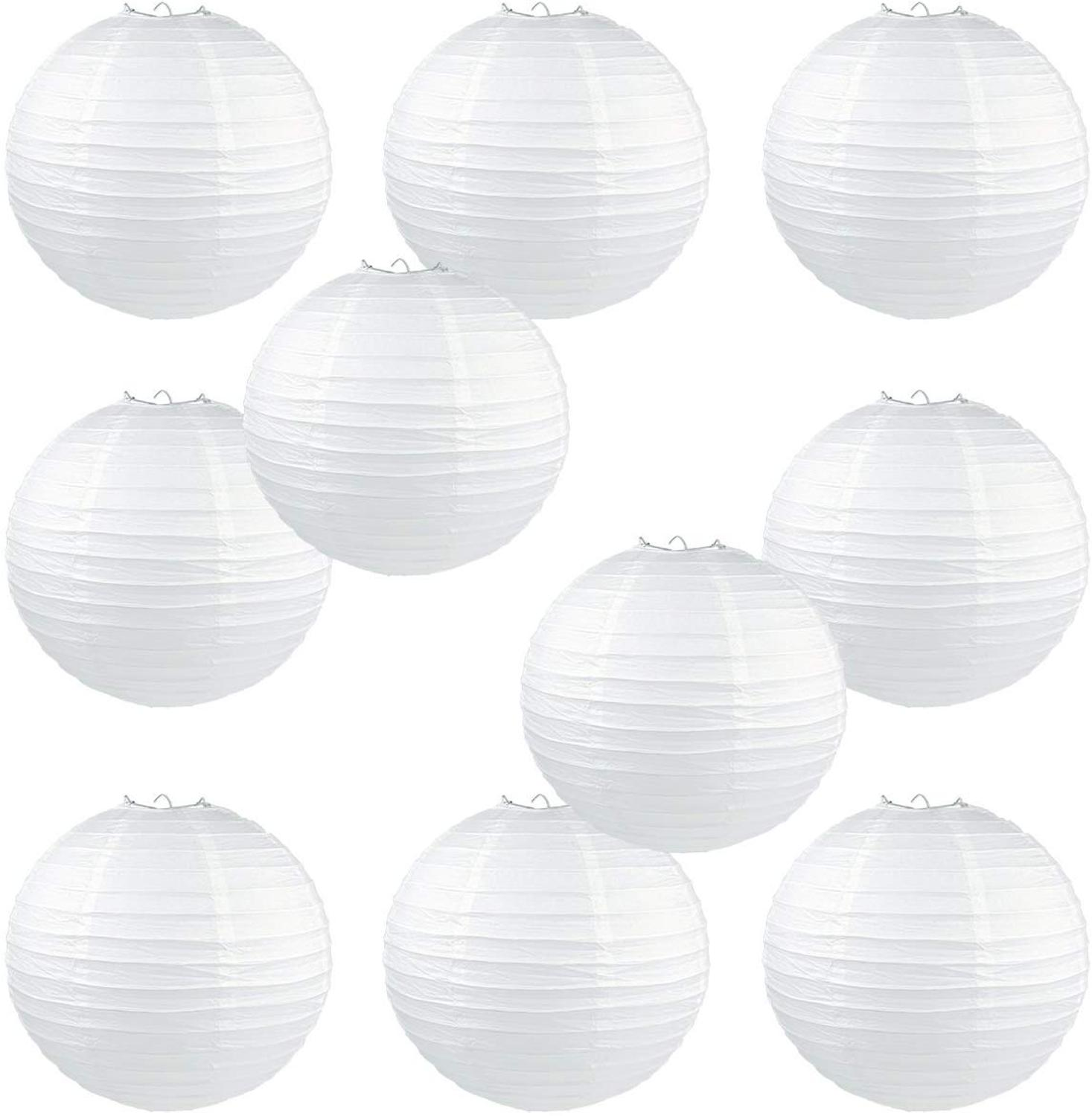 10Pcs Chinese White Elegant Paper Lantern Birthday Wedding Party Decor DIY Lampion Hanging Lantern Ball Festival Decor Supplies