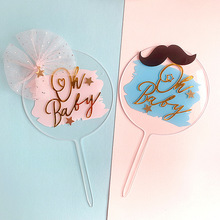 Cake Decoration Acrylic Blue Pink Knot Bread Oh Baby Happy Birthday Cake Topper for Baby Shower Boy`s Girl`s Birthday Cake Decor