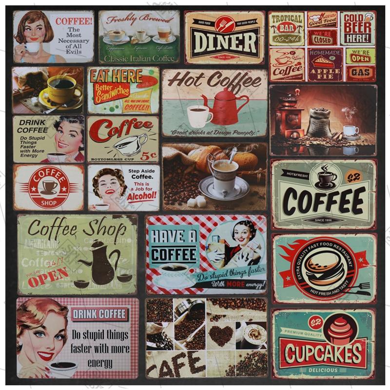 Металлическая пластина для горячего кофе, напитков, кофе, бара, постер, Декор стен для паба, кафе, искусство, винтажная жестяная вывеска, жест...