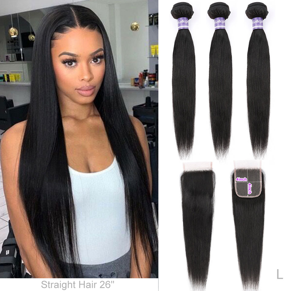 Straight Hair Bundles With Closure Brazilian Hair 3 Bundles With Closure 100% Human Hair Bundles With Closure Non-Remy