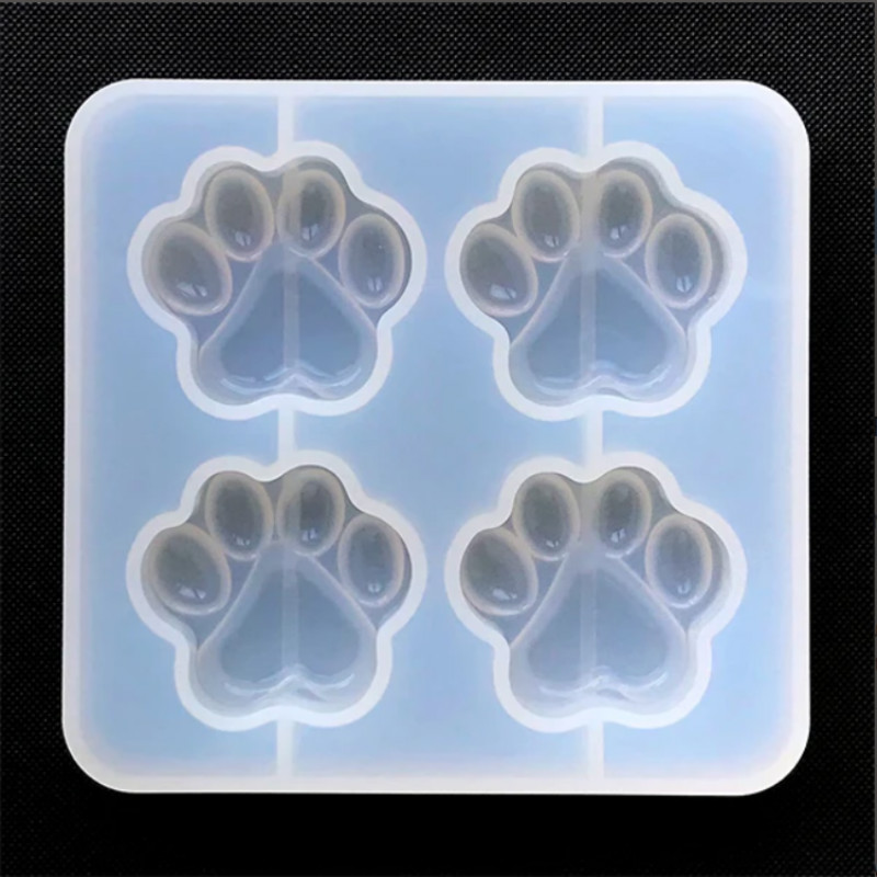 Cat Paw Silicone Mold (4 Cavity) Dog Paw Mold Animal Clear Mold For UV Resin Decoden Cabochon DIY Resin Molds For Jewelry