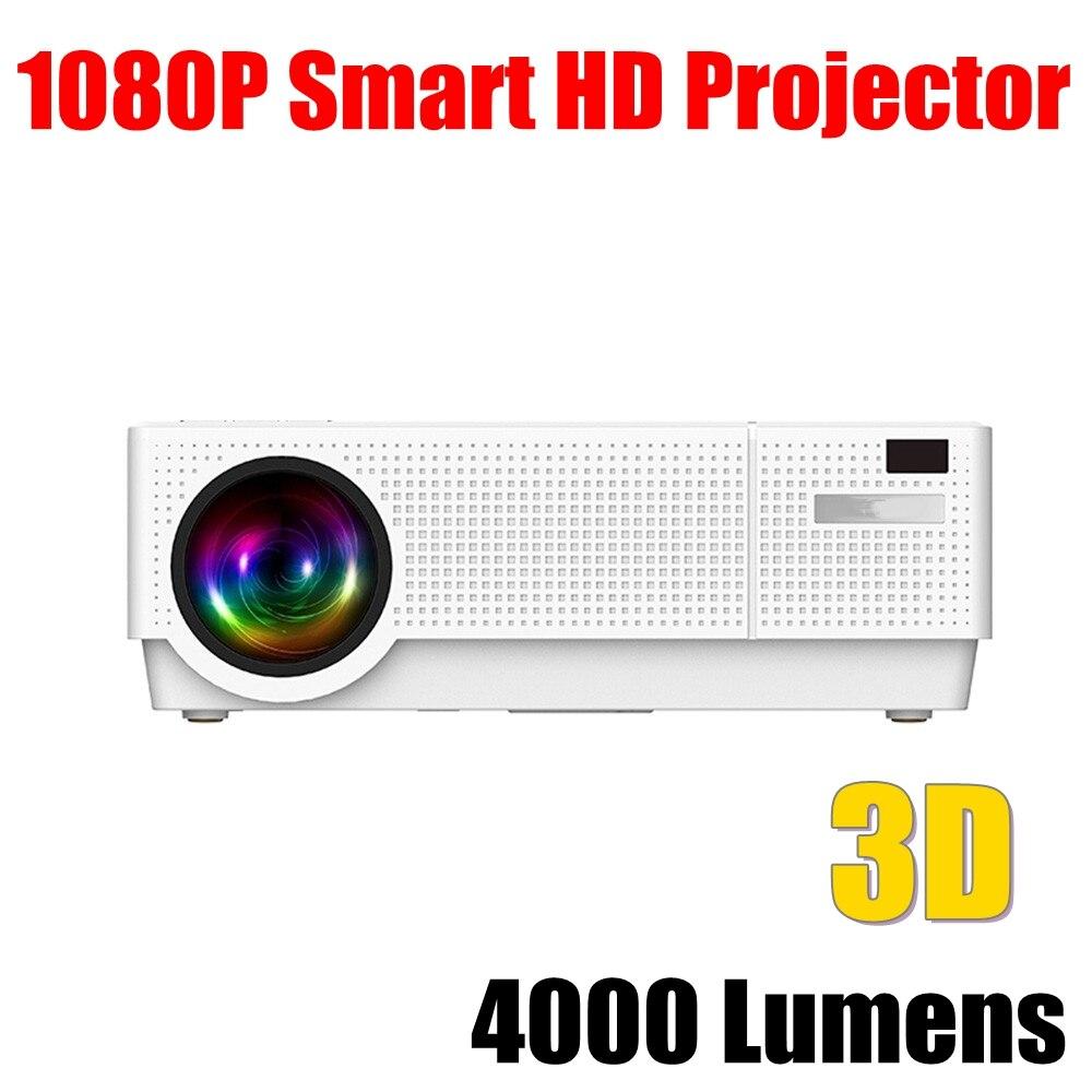 Projecteur Full HD 1080P 4000 Lumens LCD MINI projecteur pour Home cinéma Support haut-parleur intégré bluetooth 3D