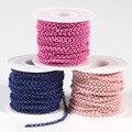 10 м/лот ширина 3 мм цепочки для ожерелья оптом для самостоятельного изготовления ювелирных изделий розовый/синий металлический Железный от...