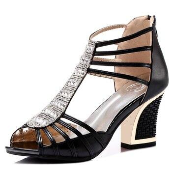 Shoes Woman Retro Fashion Women Sandals Peep Toe Platform High Heels Women Shoes Casual Square Heels Sandals 3-8010