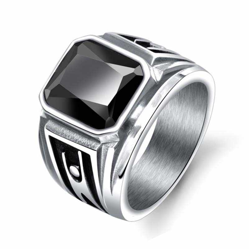 Hitam Merah Square Stone Men Ring Titanium Stainless Steel Pria Cincin Biker Band Gothic Punk Rock Hip Hop Vintage Perhiasan DCR012