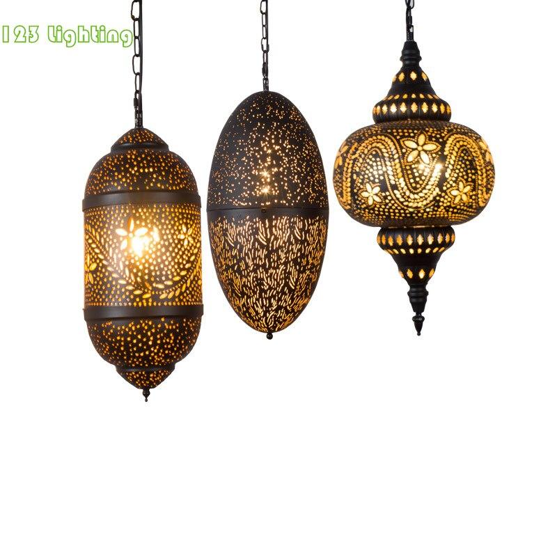 Vintage Arabic Style LED Pendant Lights Black Metal Restaurant Corridor Hanging Lamp Bedroom Foyer Pendant Lamp Home Deco Lamp