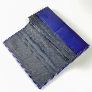 Image 5 - Kadın cüzdan yüksek kaliteli yağ balmumu hakiki deri cüzdan kadın uzun bayanlar bozuk para cüzdanı kart tutucu Femme mavi çanta