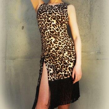 Latin Dance Dresses For Women Sexy Leopard Fringe Gatsby Dress Female Stage Ballroom Practice Clothing Charleston Dresses DL4412