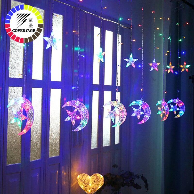 Coversage Ins Star Fairy String Lights Curtain Girnaldas Luces Navidad Led Christmas Tree Decoration Garden Outdoor Decorative