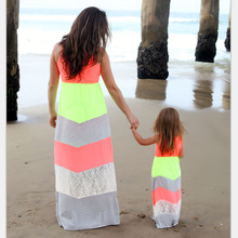 Summer Family Matching Outfits Mother Daughter Lace Dresses Striped Sleeveless Long Beach Dress Women Girl Mom Kids