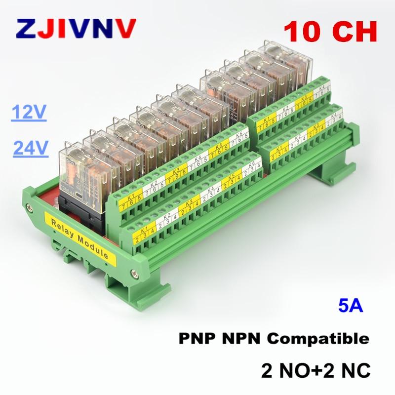 Module de relais d'interface DPDT 10 canaux 12/24VDC DIN montage sur panneau de Rail PNP NPN Compatible