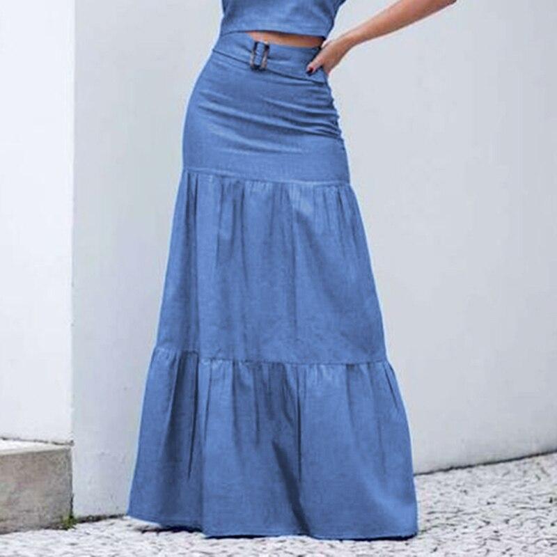 2021 Для женщин однотонные длинные юбки эластичный пояс плиссированные макси юбки для пляж рюшами Винтаж летние юбки с поясом Faldas вечерние пл...