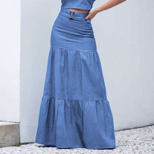 2021 Women Solid Long Skirts Elastic Waist Pleated Maxi Skirts Beach Ruffle Vintage Summer Skirts Belt Faldas Saia Party Bottoms