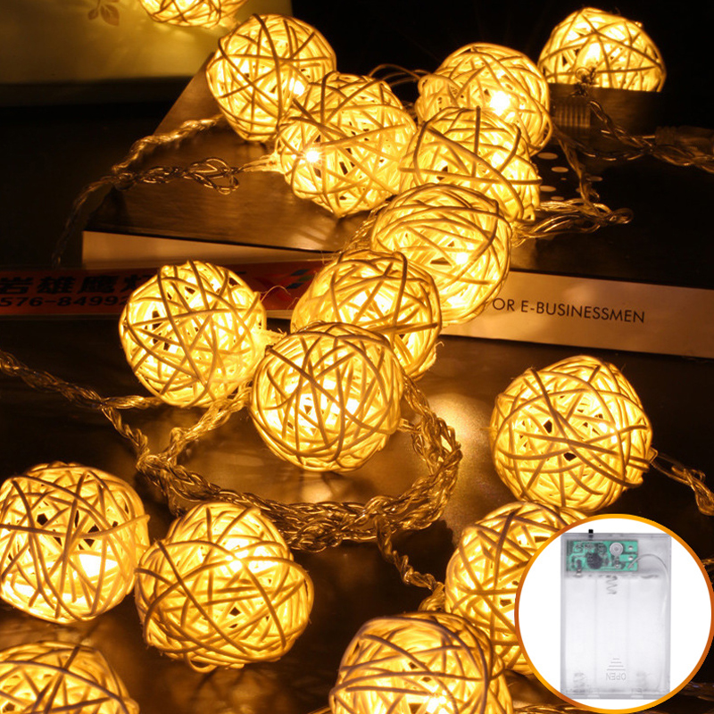 20/40 Rattan Ball Light LED String Christmas Garland Wedding Room Fairy Lights Decoration For Holiday Party Lighting Chain