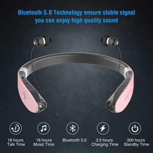Image 2 - AMORNO Foldable Bluetooth Headphones Wireless Neckband Headset Retractable Earbuds Sweatproof Noise Cancelling Stereo Earphones