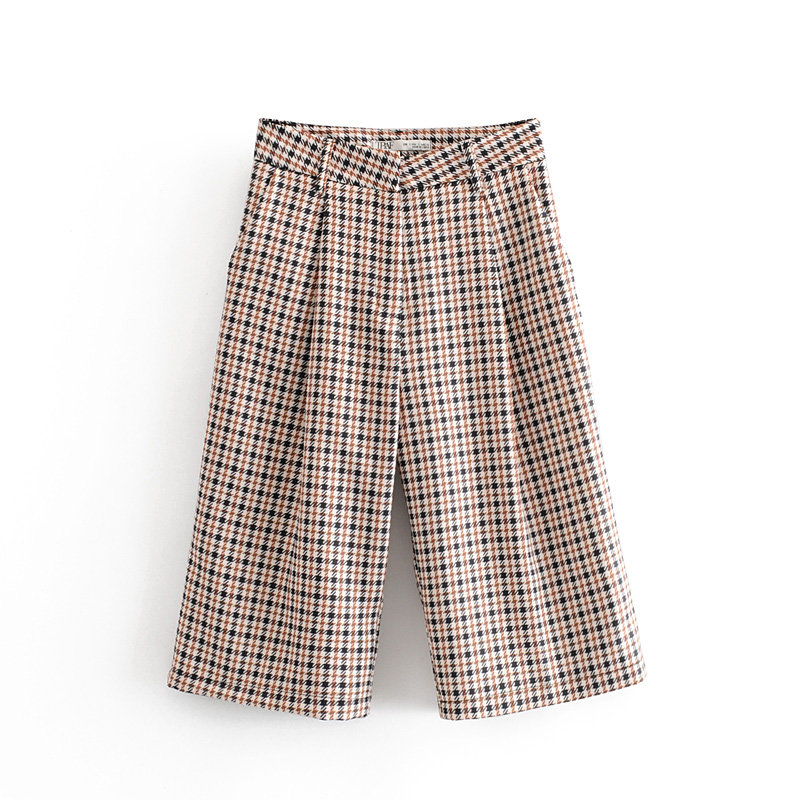 Women Chic Houndstooth Plaid Print Half Length Pants Pockets Casual Trousers Female Basic Elegant Leisure Trousers P587