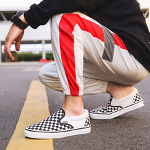 Winter Fleece Lining 753 Slip-on Checkerboard Black And White Lattices Canvas Shoes