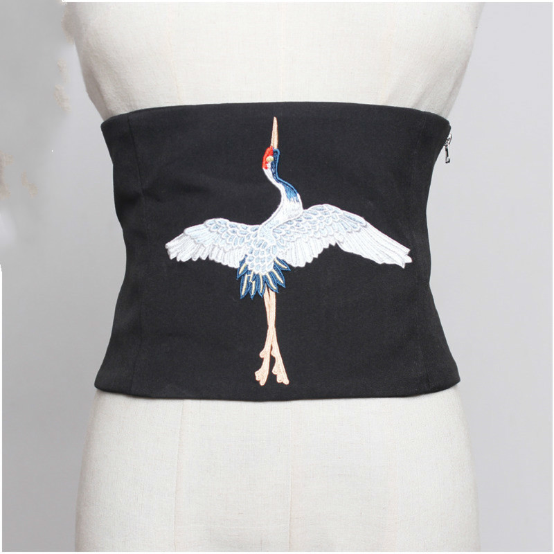 Spring Summer Fashion Retro Style Embroidery Bandage Chinese Crane Wide Waist Sash Belt Accessories A015