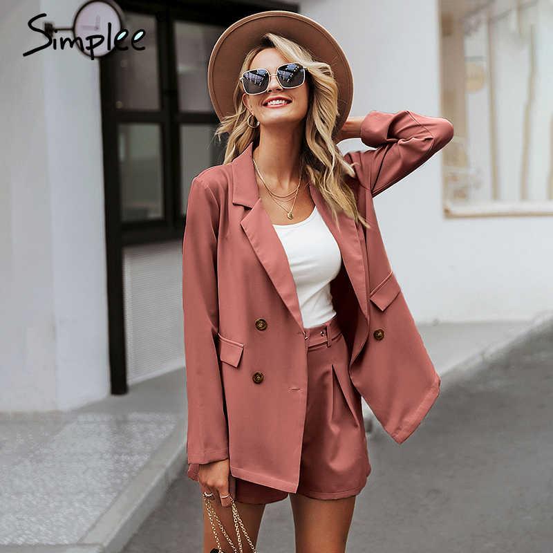 Simplee Elegant two-pieces women short suit Casual streetwear suits female blazer sets Chic 2019 office ladies women blazer suit