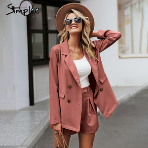 Image 2 - Simplee terno curto elegante, duas peças, casual, streetwear, conjuntos de blazer feminino, chique, 2019, para escritório traje de terno
