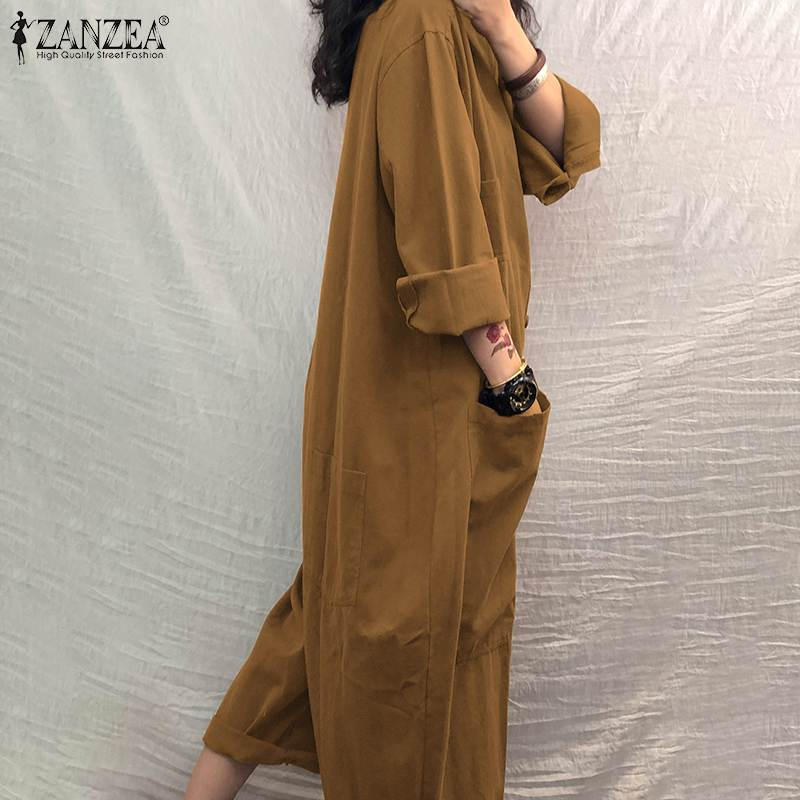 Women Jumpsuit 2021 Female Oversized Romper ZANZEA Autumn Loose Pockets Overalls Plus Size 5XLCasual Solid Stand Collar Bottom