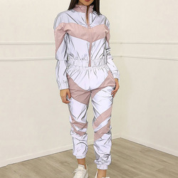 2020 Hot Selling Hot Selling Summer Europe and America WOMEN'S Dress Joint Reflective Shiny Shining Sports Leisure Suit Two-Piec