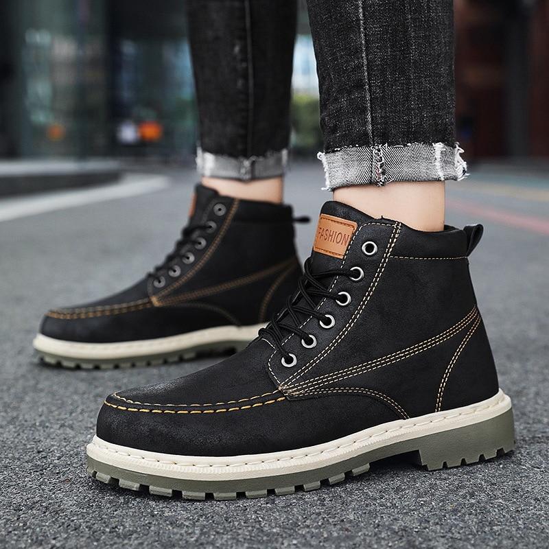 Купить ботильоны мужские на шнуровке кожаные ковбойские ботинки платформе
