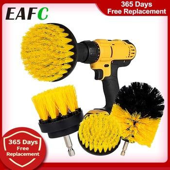 "3Pcs/Set Electric Scrubber Brush Drill Brush Kit Plastic Round Cleaning Brush For Carpet Glass Car Tires Nylon Brushes 2/3.5/4"""