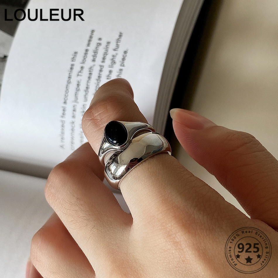 LouLeur Couple 925 Sterling Silver Ring Black Onyx Ring Adjustable For Men Women Silver 925 Fine Jewelry Rings Gifts Charms(China)