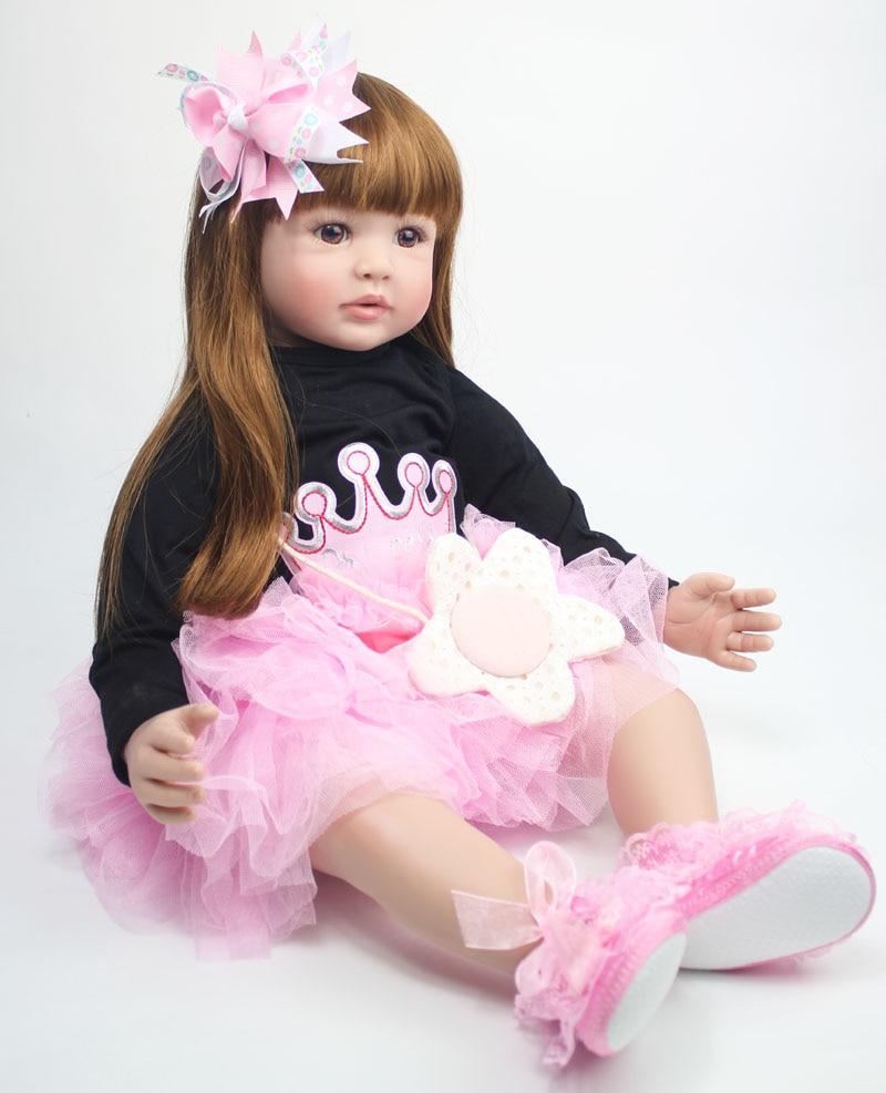 "60cm Reborn Toddler Doll Cloth Body 24"" Vinyl Limbs Princess Baby Dolls Girls Birthday Gift Child Play House Toy"