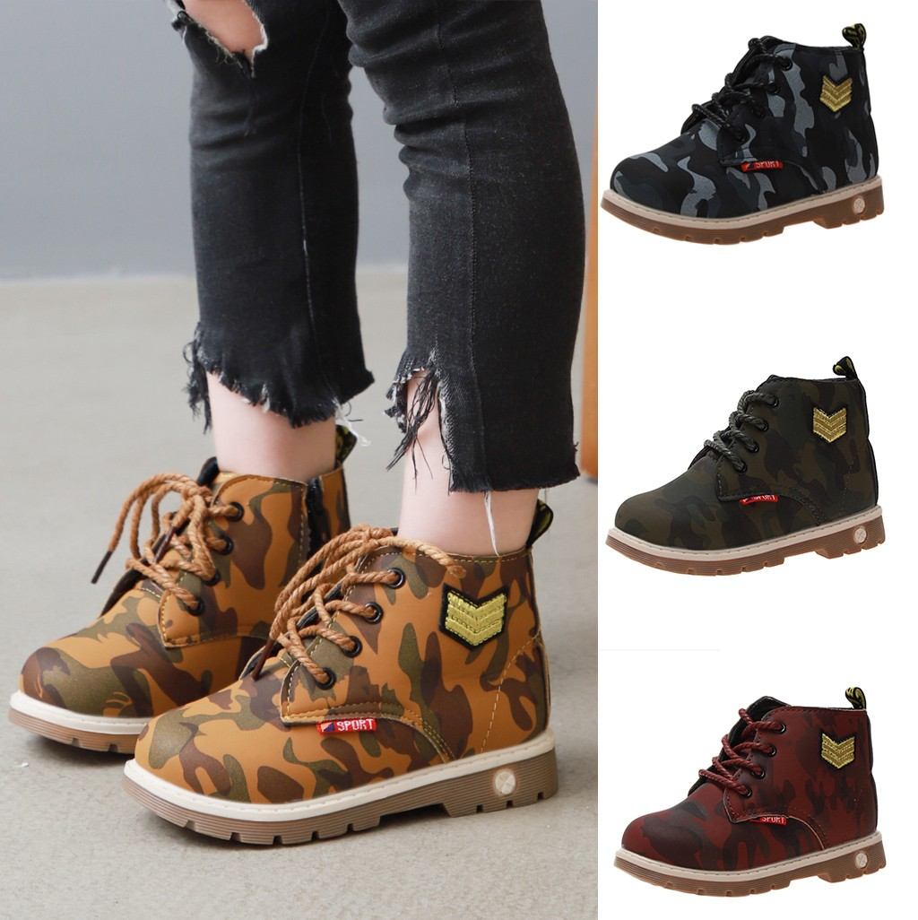 Age:2-2.5 Years, Black Toddler Baby Boys Boots Baby Camouflage Lace up Snow Sneaker Soft Flat Ankle Shoes