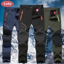 LUTU warm Autumn Winter Softshell Hiking Pants Men Waterproof Outdoor Trousers Sports Camping Trekking cycling ski fleece Pants