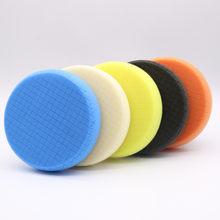 6 pulgadas 5 unids/set de abrillantado para coche de malla esponja de pulido espejo con forma de rueda REDUCCIÓN DE abrillantado para coche auto-adhesivo esponja de la rueda