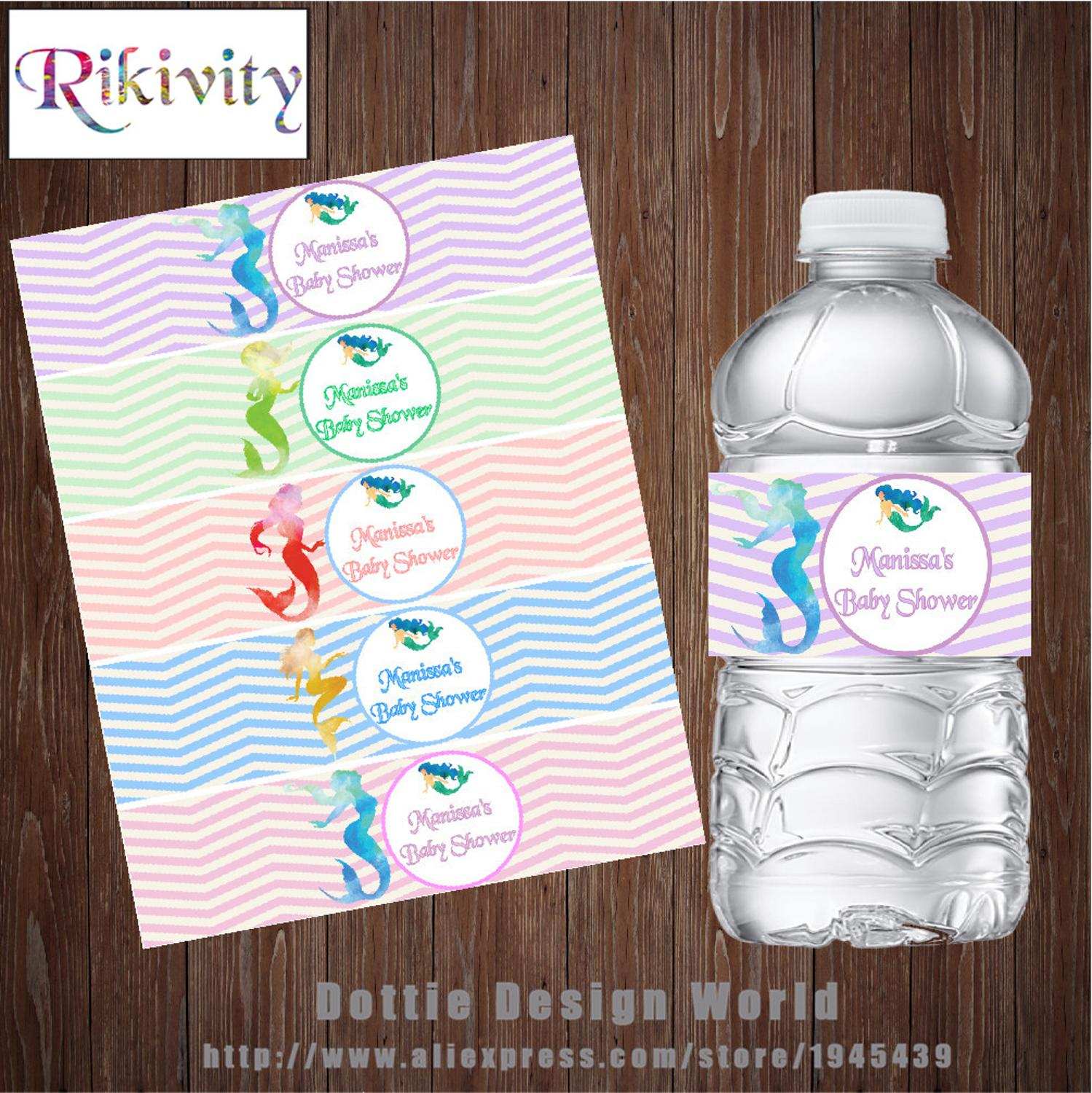Watercolor Mermaid Birthday Personalized Waterproof Water Bottle