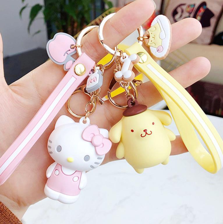 1 Pc Creative My Melody Pudding Cinnamoroll Dog Kuromi Keychain Bag Pendant Keyring for Girls Figure Toy-3