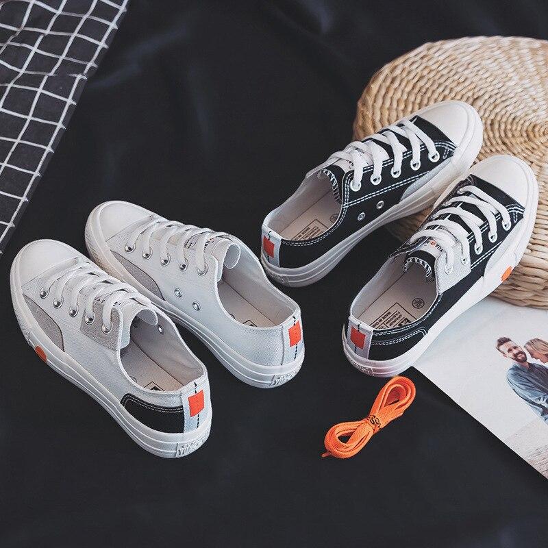 Ev ve Bahçe'ten Ayakkabı Rafları ve Organizatörleri'de Yuan bu 2018 sonbahar yeni ürünler kore tarzı çok yönlü Harajuku kanvas ayakkabılar öğrenci düşük üst ayakkabı düz renk Ryan kadin title=