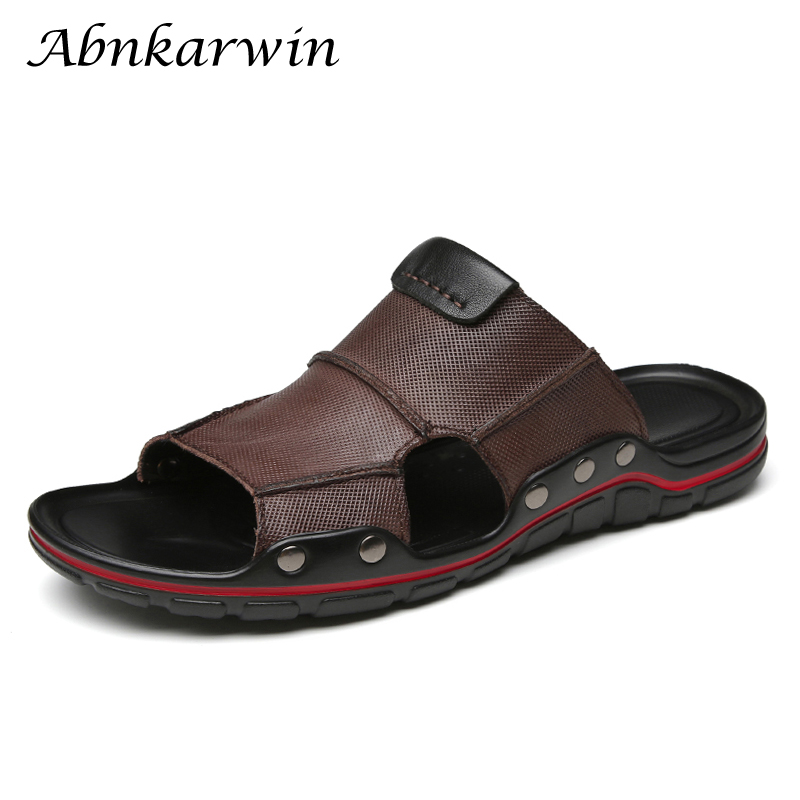 Abnkarwin Men Leather Slides Slippers Summer Shoes Flat Mens Slipper Slipers Outdoor Sleepers News 2020 Chinelo Slide Masculino