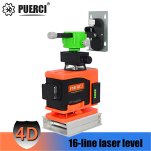 купить PUERCI 16 line 4D laser level 360 Vertical And Horizontal Laser Level Self-leveling Cross Line 4D Green Laser Level with outdoor по цене 5482.74 рублей