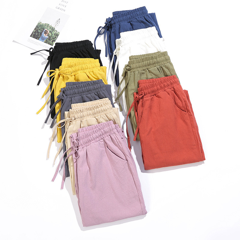 Summer Women Cotton Pants Casual Sweet Loose Elastic Waist  Harem Lace Solid Trousers Soft High Quality For Female Girls Thin