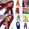 JYZ Hot Pink Green Yellow 150% 180% 13x4 Lace Front Human Hair Wigs With Baby Hair Straight Pre Plucked Brazilian Remy Wigs