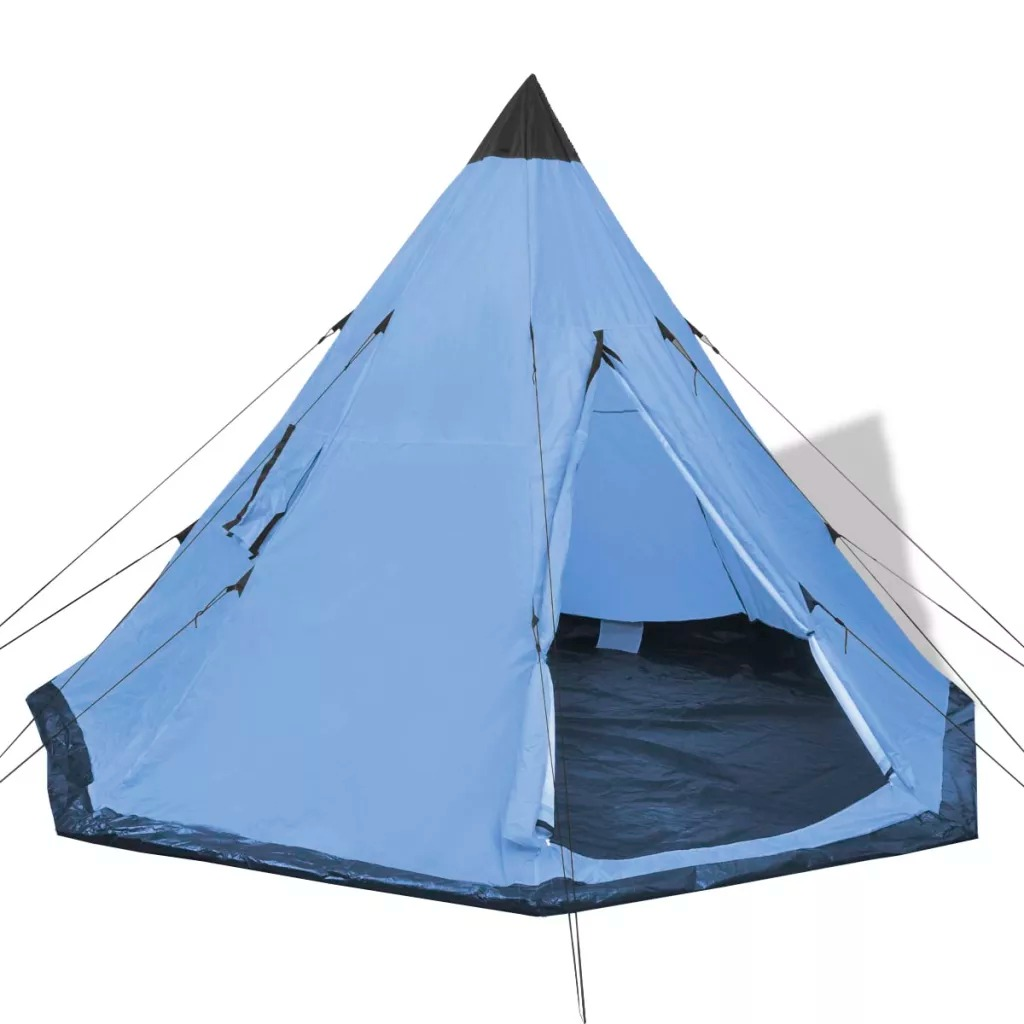 VidaXL 4-Person Tent Blue Camping Tent With 2 Windows Comfortable Interior And Storage Bag