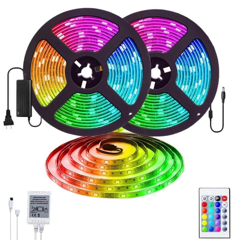 Top-32.8Ft 5050 RGB LED Strip Lights Colour Changing Lighting IP65 WaterProof 12V 300LED