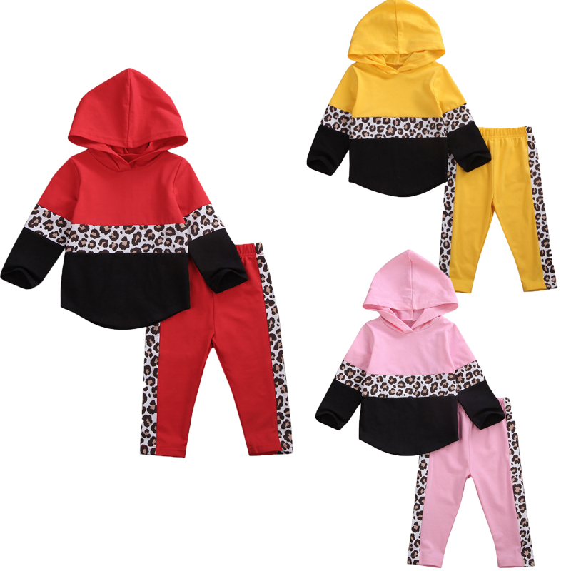 0-24M Infant Baby Kid Girl Boy Infant Clothes Sets Leopard Print Hooded Tops Pants Toddler Outfits Tracksuit