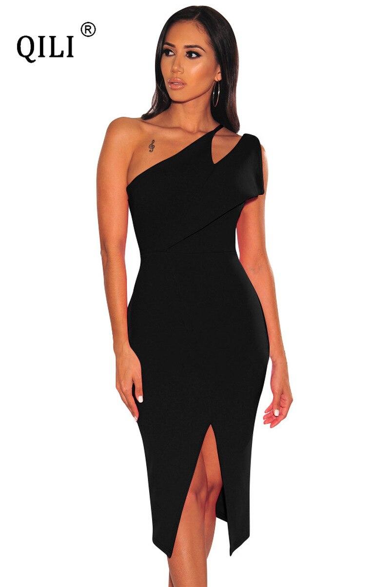 Купить qili летнее платье на одно плечо белые черные синие облегающие