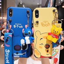 Super Cute Stitch Mickey Pooh Lembut Tpu Kepribadian DROP Tali Panjang Case untuk iPhone 6 7 8 Plus X XR X Max cover(China)