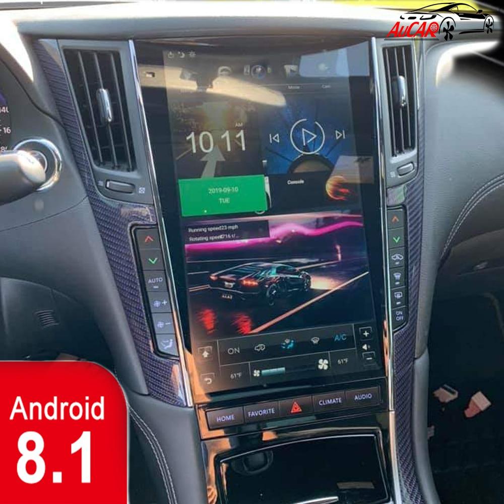 AuCar Tesla Android 8.1 multimédia autoradio gps navigation pour Infiniti Q50 Q50L Q60 mark 3 2016-lecteur stéréo de voiture 1din 2din