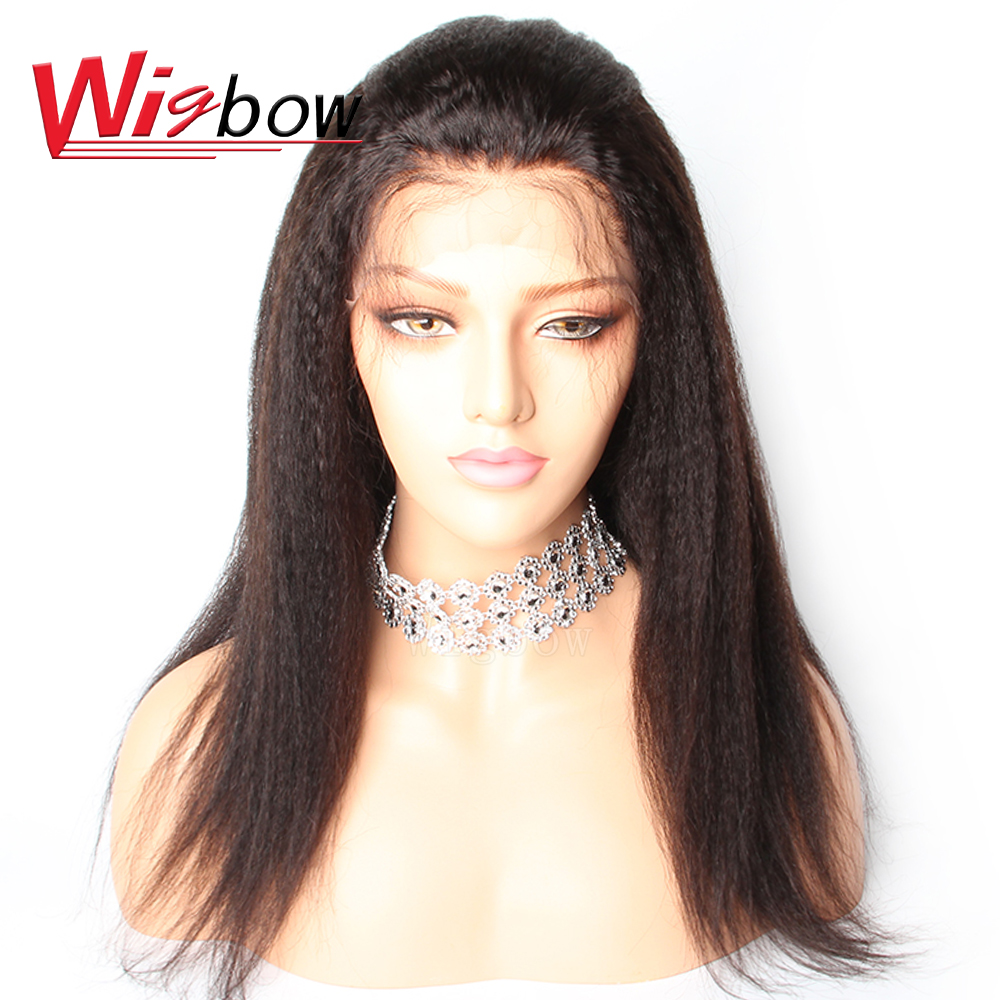 Wigbow OneCut Hair Kinky Straight Lace Wig Lace Closure Human Hair Wigs With Baby Hair Brazilian Remy Hair Long Curly Wigs