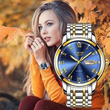 Женские кварцевые часы lige наручные золотого и синего цвета