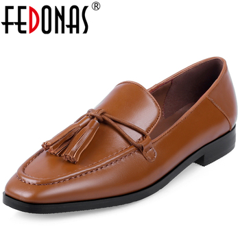 FEDONAS Spring Euro Style Retro Concise Women Cow Leather Loafers Shoes Fringe Square Toe Casual Comfortable Slip-On Shoes Woman