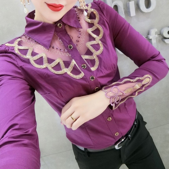 Fall Winter Business Wear Blouse European Clothes Fashion Patchwork Embroidery Women All Match Shirt Ropa Mujer Tops New T08608L 3